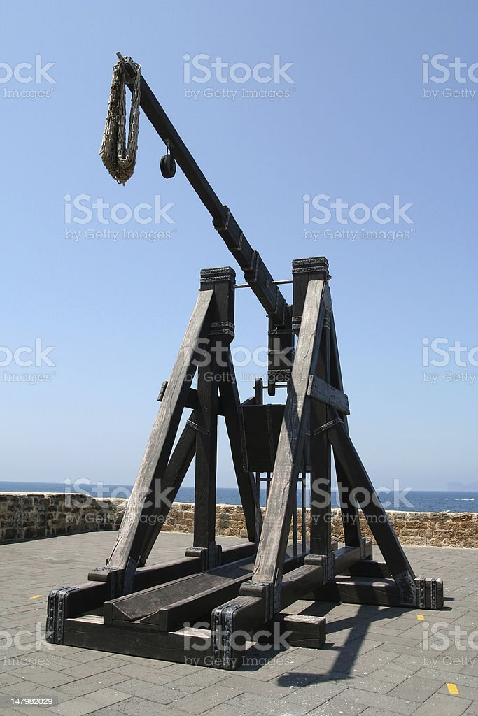 Medieval Catapult. stock photo