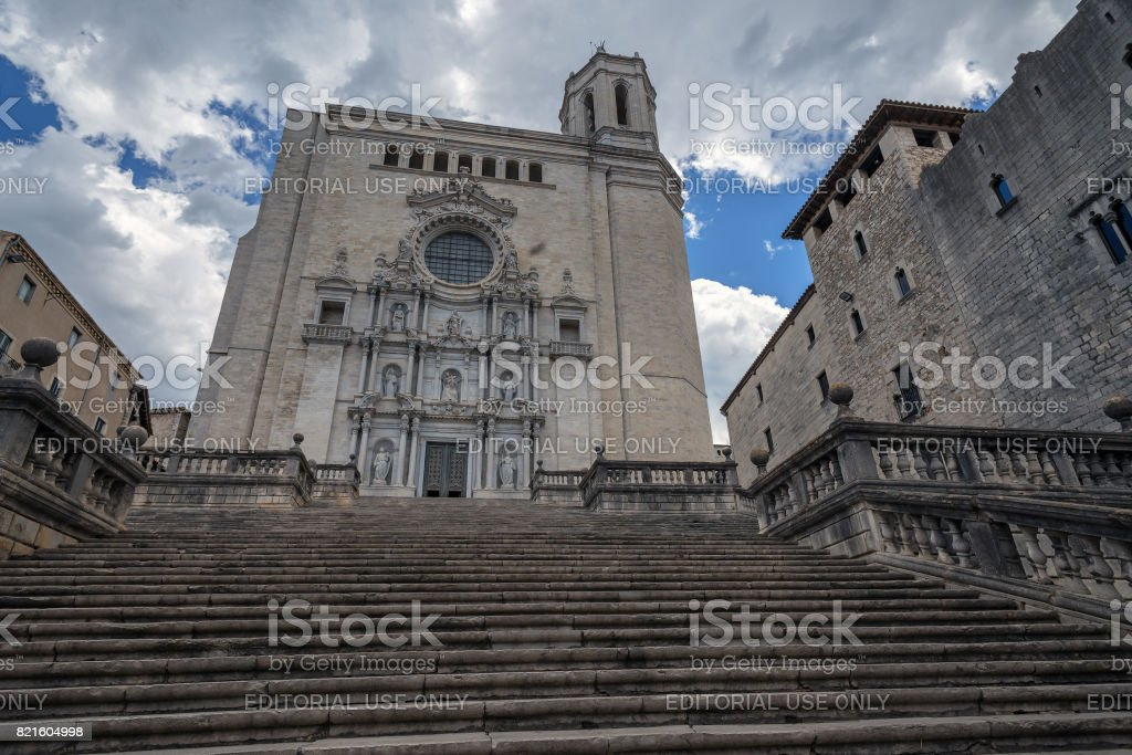 medieval cathedral Girona stock photo