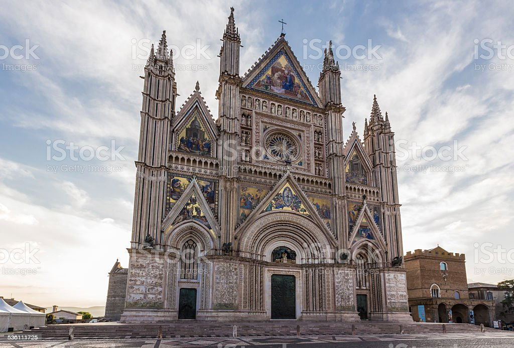 medieval cathedral in Orvieto, Umbria, Italy stock photo