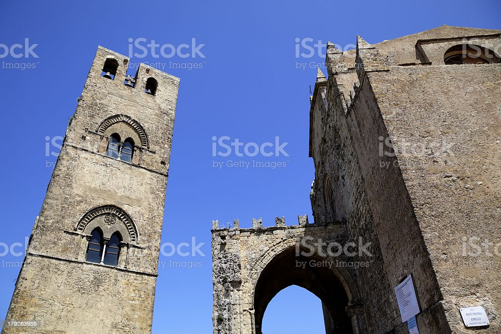 Medieval Catholic Church Chiesa Matrice in Erice. Sicily, Italy royalty-free stock photo