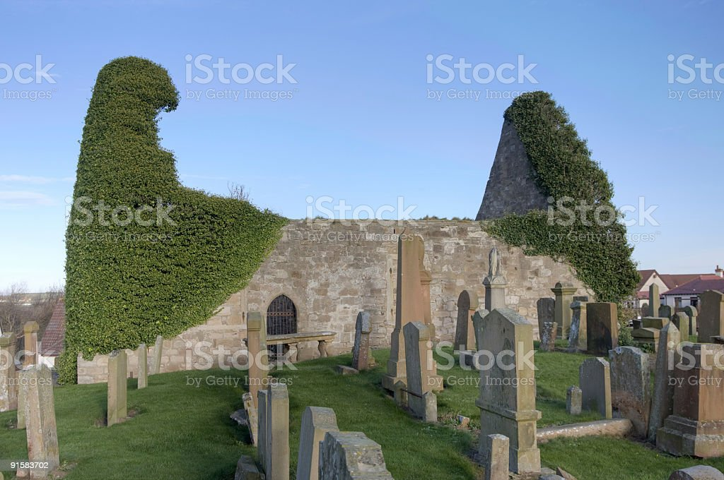 Medieval Church and Graveyard royalty-free stock photo