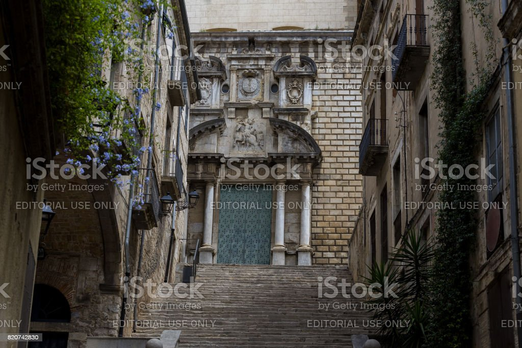 Medieval church Girona stock photo