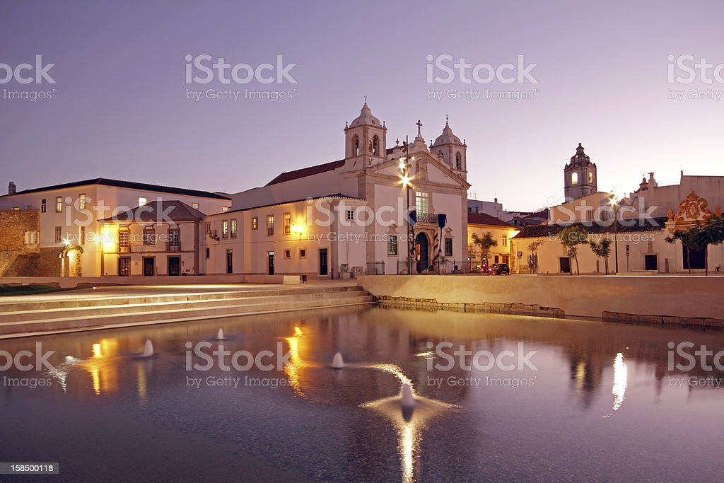 Medieval church in Lagos Portugal at twilight stock photo