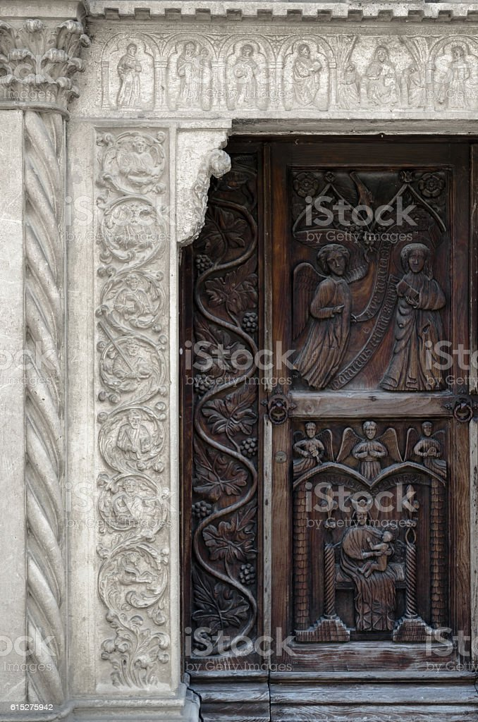 medieval church portal stock photo