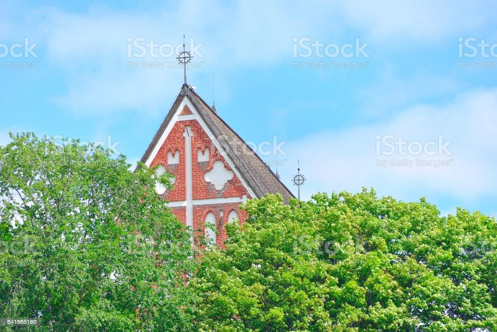 Medieval church roof of Porvoo cathedral stock photo