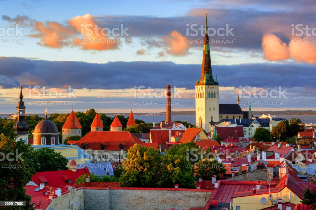 Medieval churches and towers in Tallinn Old Town, Estonia stock photo