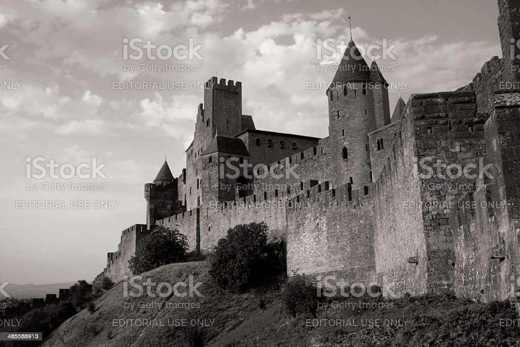 Medieval citadel of Carcassonne France BW stock photo