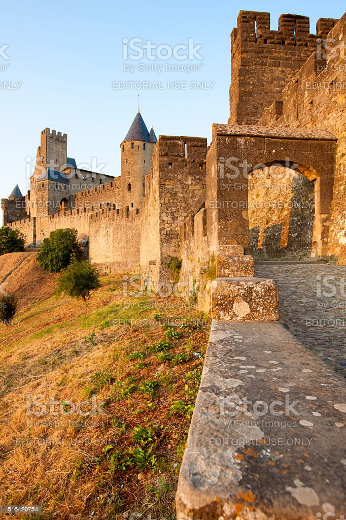 Medieval Citadel of Carcassonne. stock photo
