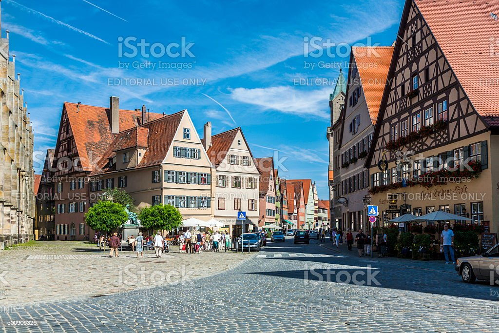 medieval city Dinkelsbuehl in Germany stock photo