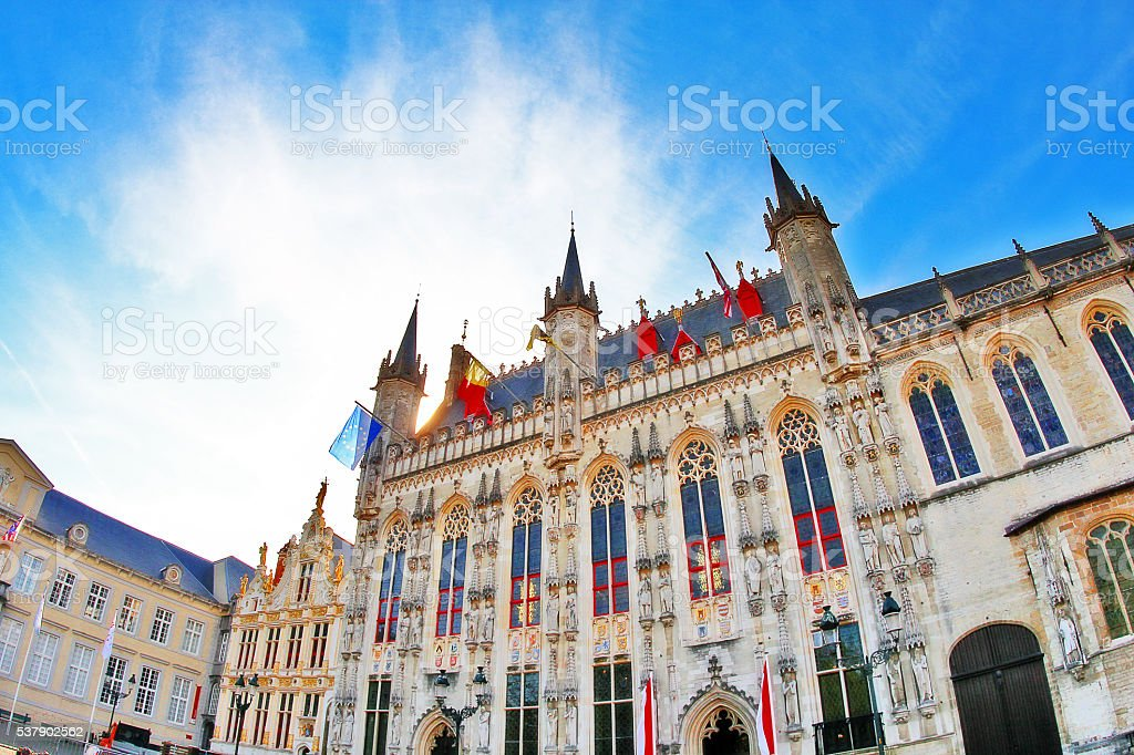 Medieval City Hall of Bruges at Burg Square, Belgium stock photo