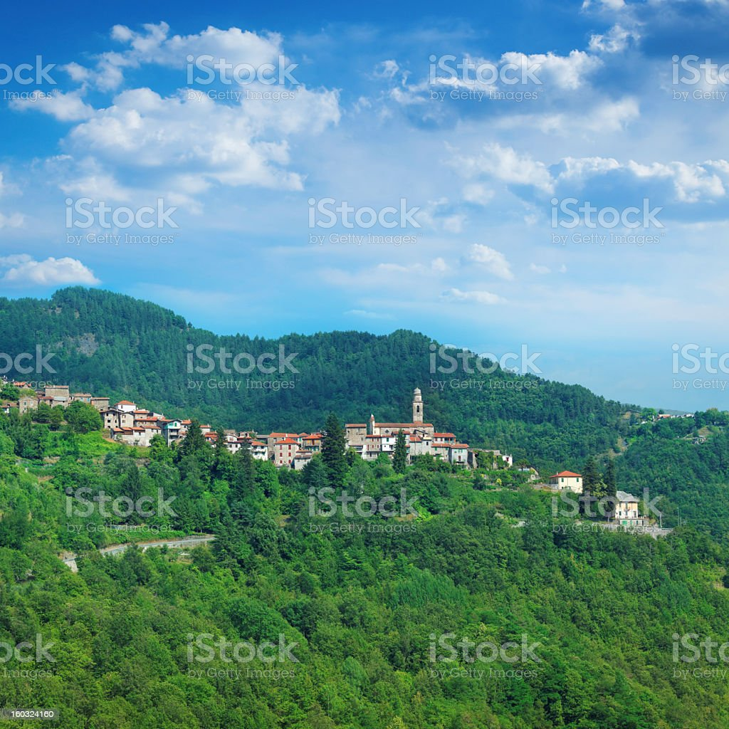 Medieval city in the Ligurian Alps, Italy stock photo