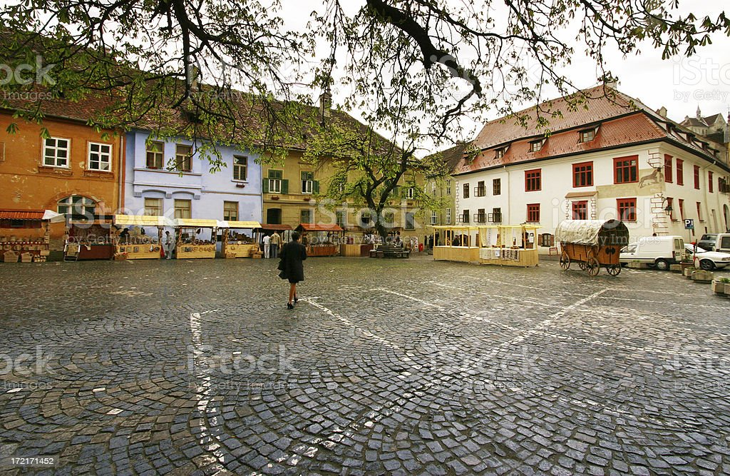 Medieval city square in Sighisoara Romania stock photo