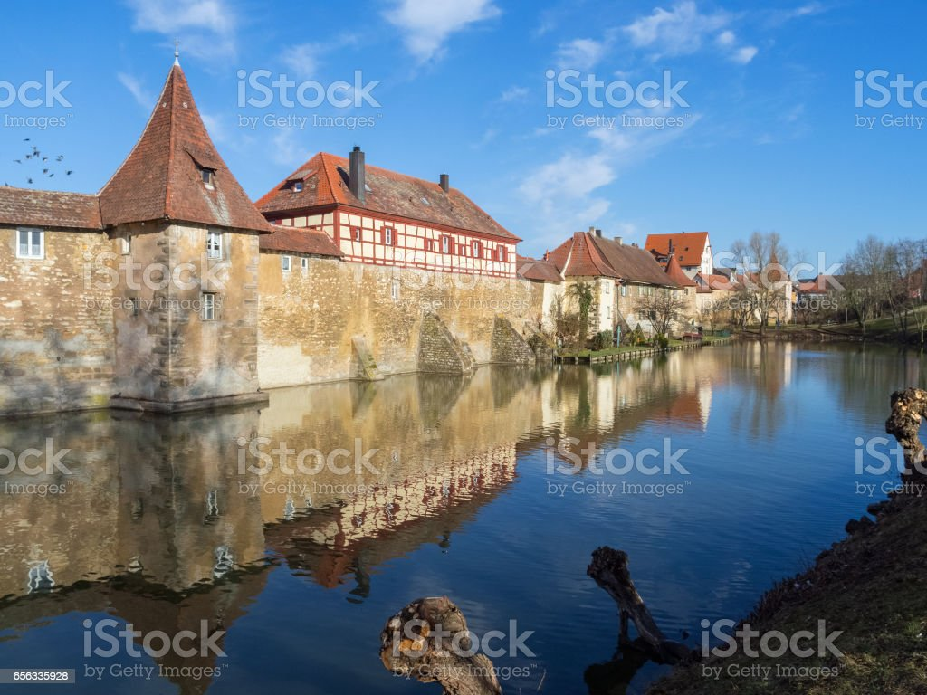 Medieval city wall of the franconian town Weissenburg stock photo