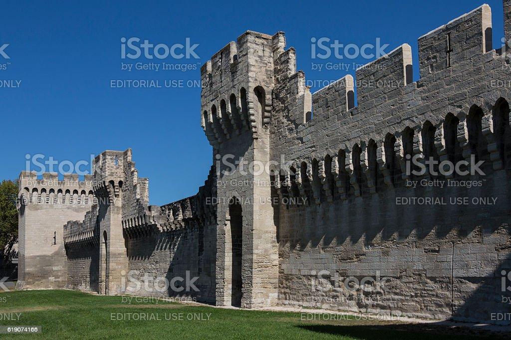 Medieval City Walls - Avignon - France stock photo