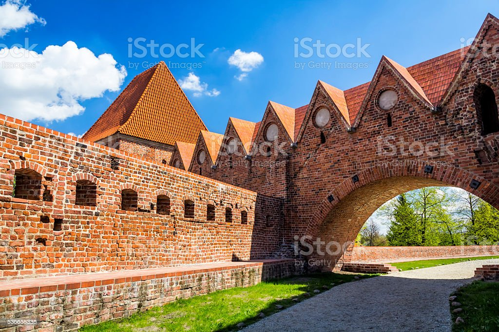 medieval city walls in old town in Torun, Poland stock photo