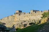 Medieval city walls in Old Town of Rhodes, Greece
