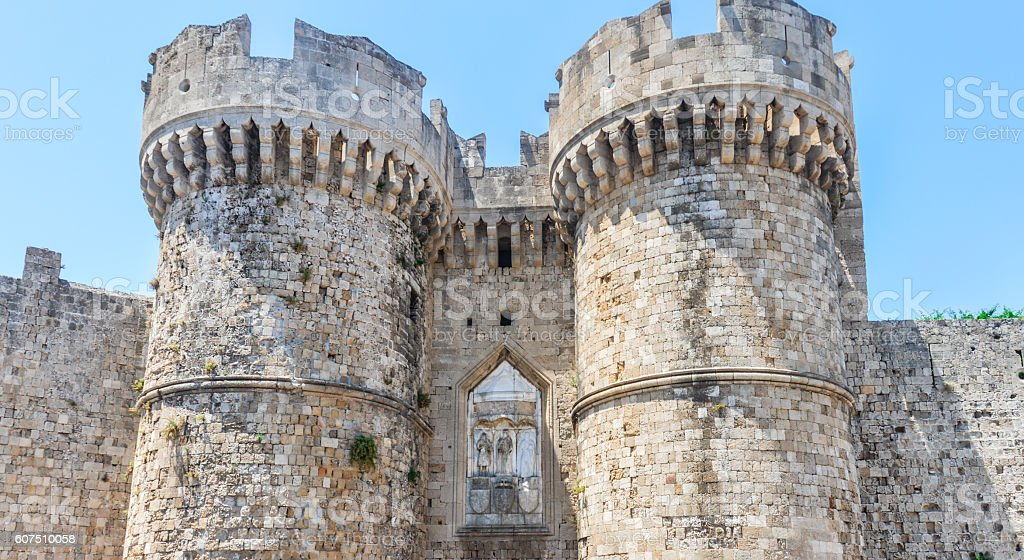 Medieval city walls in Old Town of Rhodes, Greece stock photo