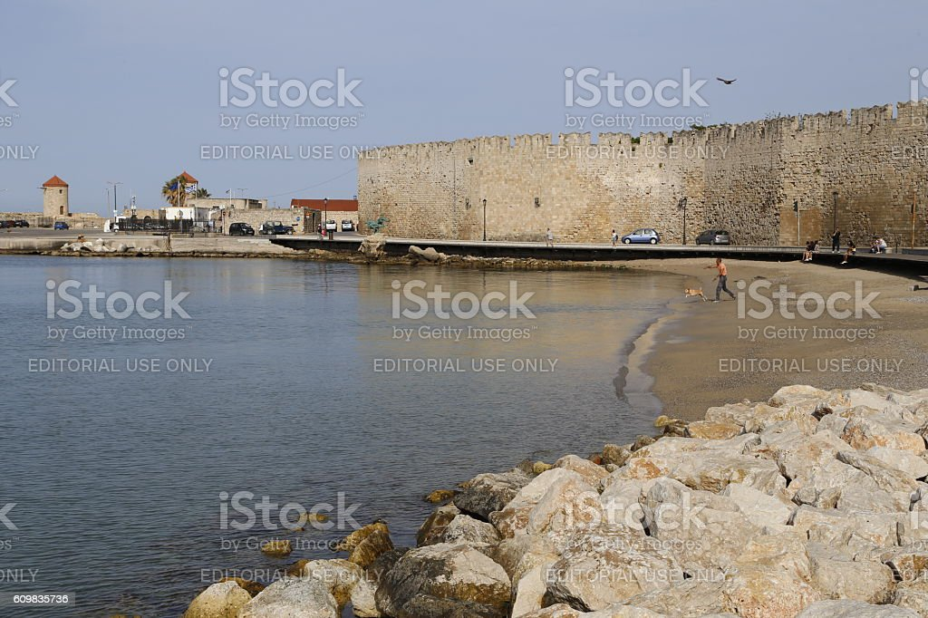 Medieval city walls in Rhodes town. stock photo
