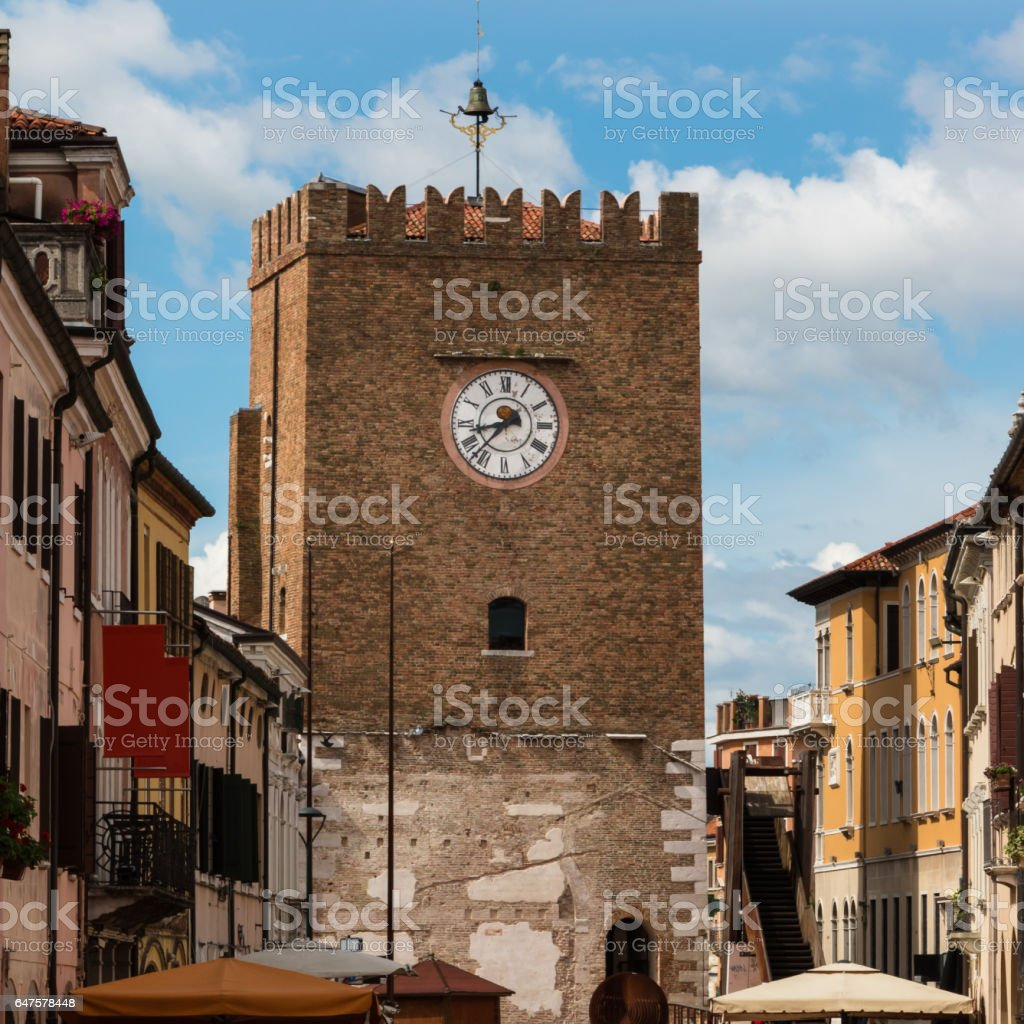 Medieval Clock Tower in Mestre near Venice - Italy stock photo
