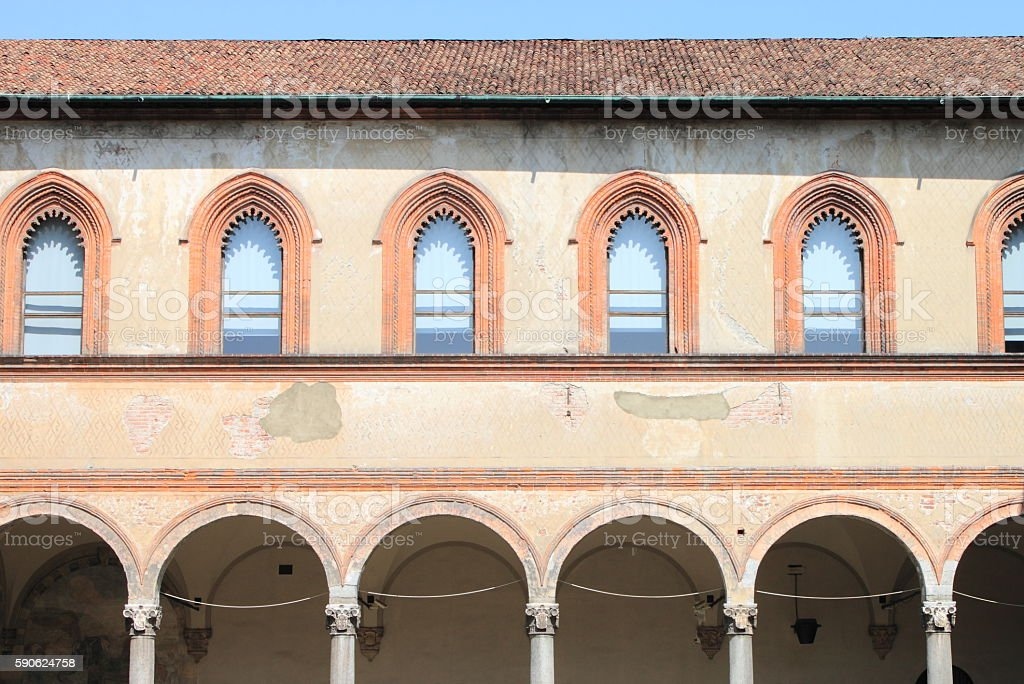 Medieval cloister stock photo