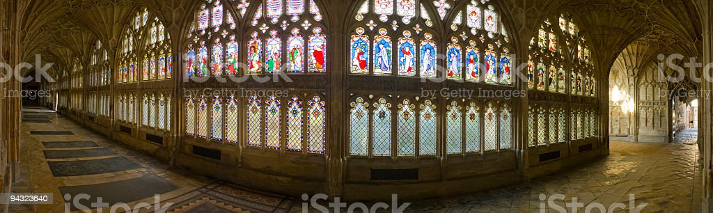Medieval cloisters and stained glass royalty-free stock photo