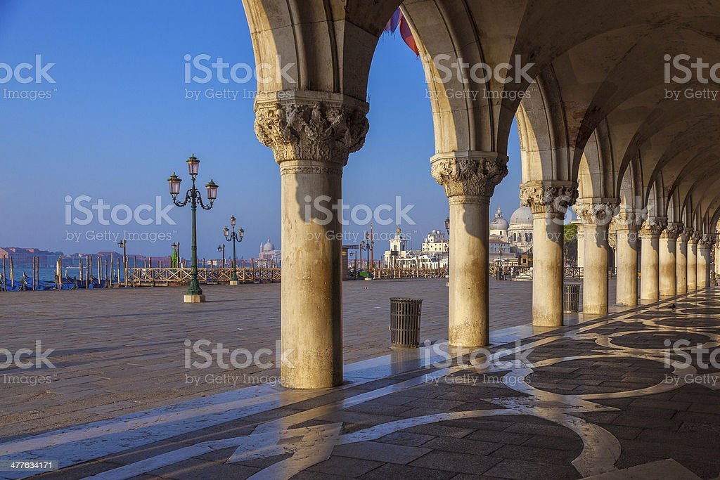 medieval columns of the Doges Palace, Venice royalty-free stock photo
