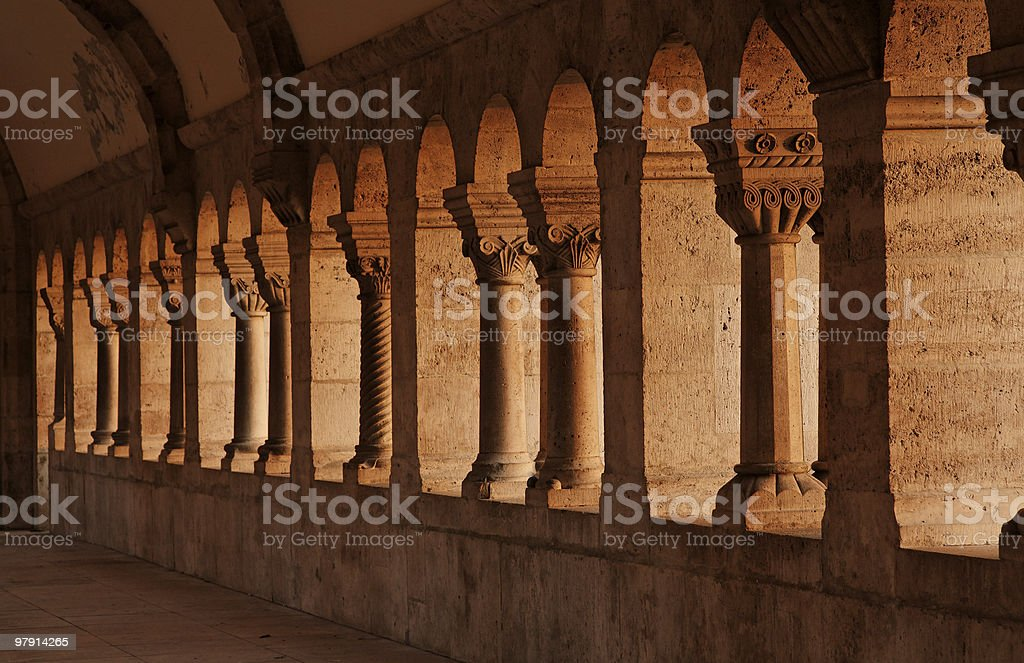 medieval columns stock photo