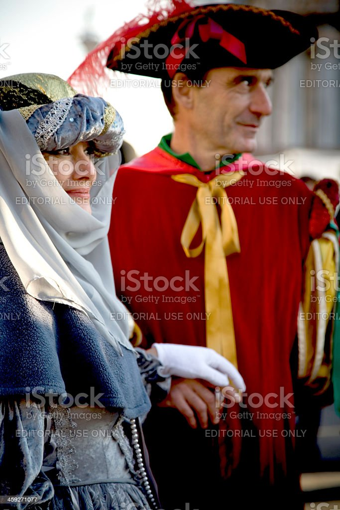 Medieval Couple at Carnival. Venice 2008 royalty-free stock photo