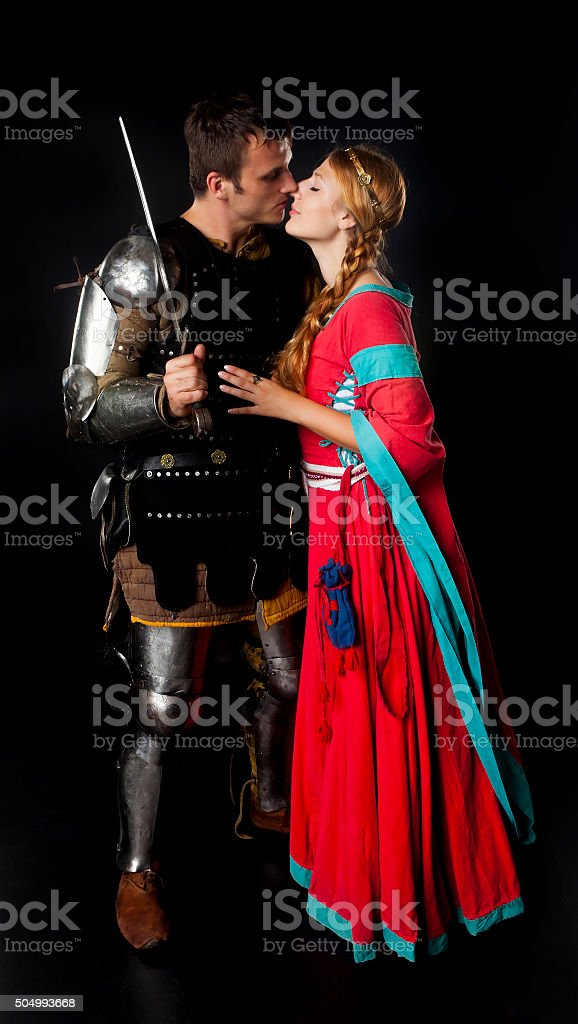 Medieval couple kissing stock photo