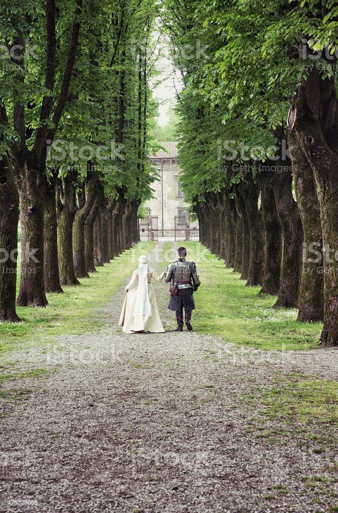 Medieval Couple Walking stock photo