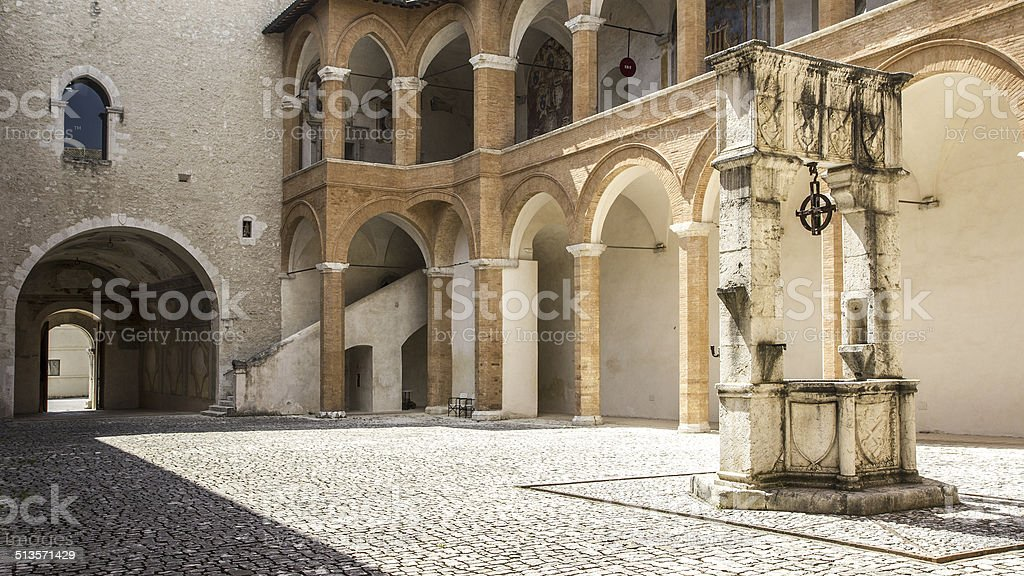 Medieval courtyard in Central Italy stock photo