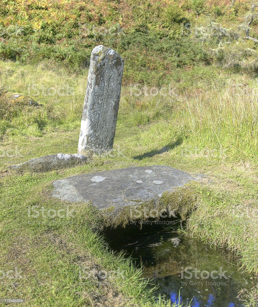 Medieval Cross and Holy Well royalty-free stock photo