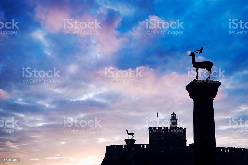 Medieval Deer Statues, Port of Mandraki, Rhodes, Greece stock photo