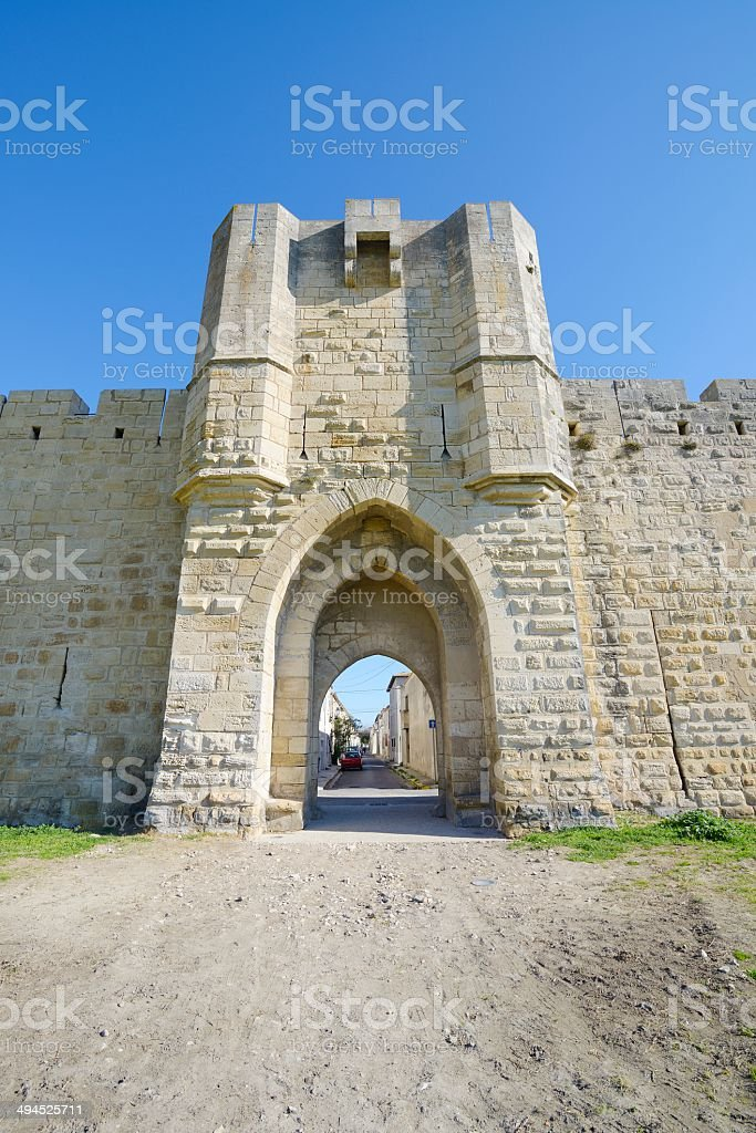 Medieval door, Aigues Mortes stock photo