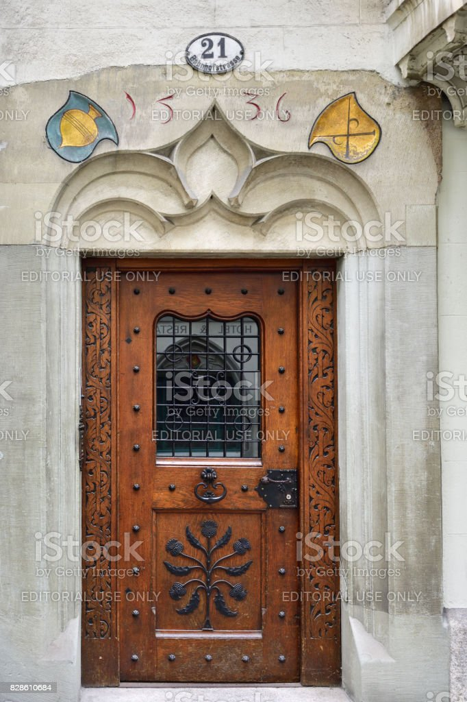 Medieval door in Lucerne, Switzerland stock photo