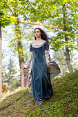 Medieval dress on young girl model with black hair