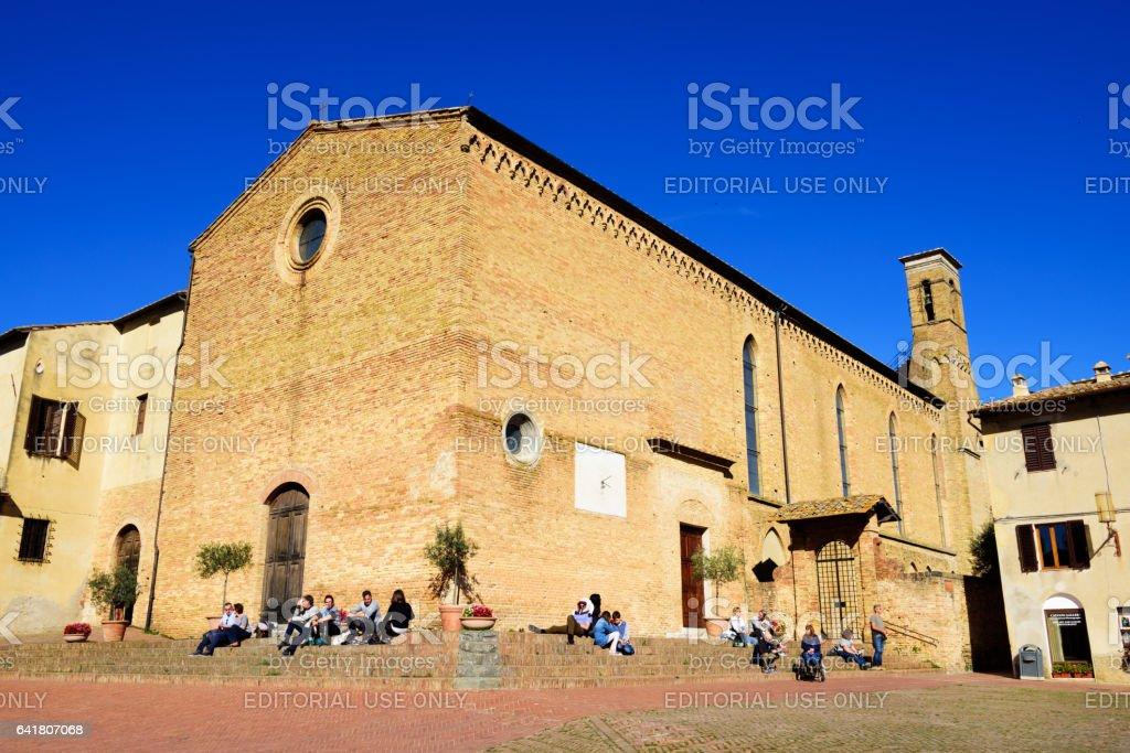 Medieval Duomo in San Gimignano, Italy stock photo