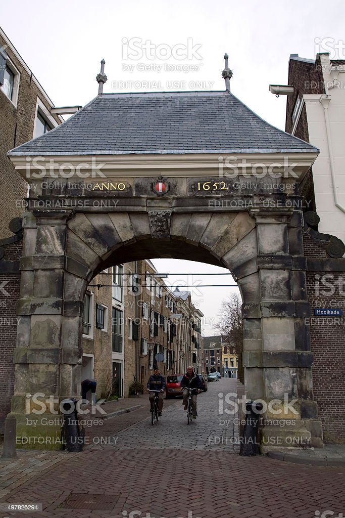 Medieval Dutch city gate stock photo
