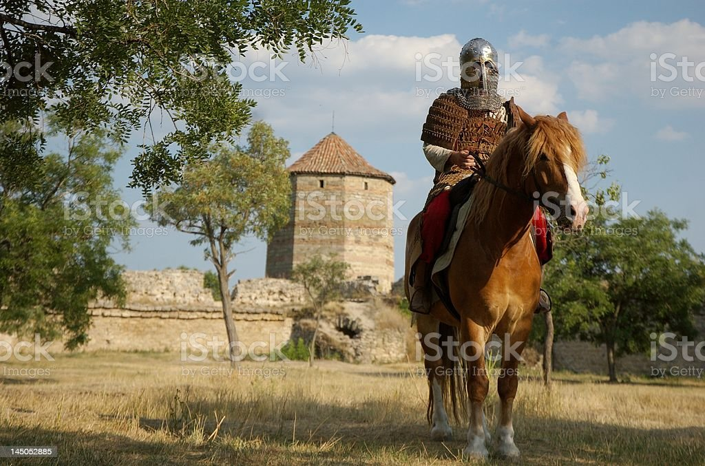 Medieval European knight in th stock photo