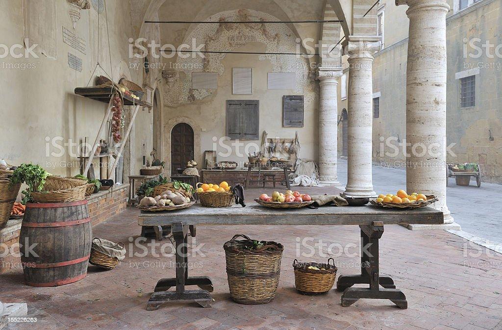 Medieval european marketplace scene stock photo
