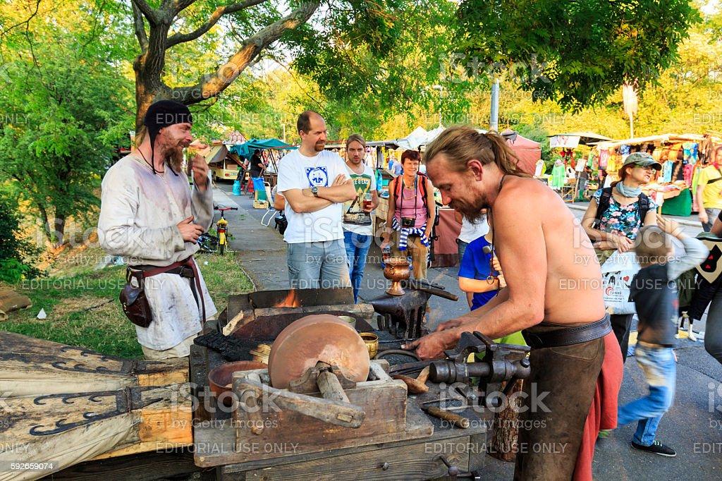 Medieval festival on Vitkov park in Prague stock photo
