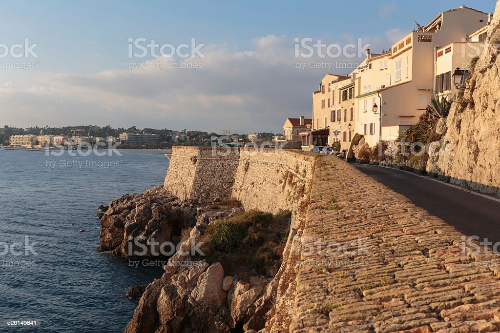 Medieval fortress at dawn Antibes, France stock photo