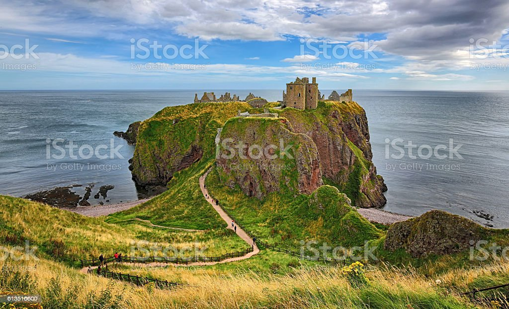 Medieval fortress Dunnottar Castle (Aberdeenshire, Scotland) stock photo