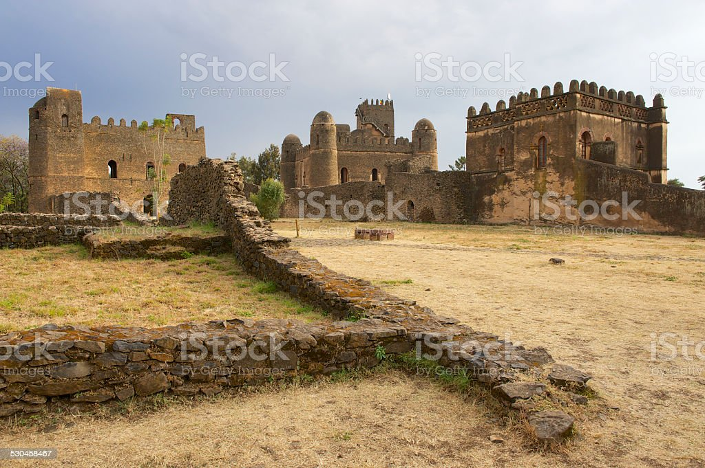 Medieval fortress in Gondar, Ethiopia, UNESCO World Heritage site. stock photo