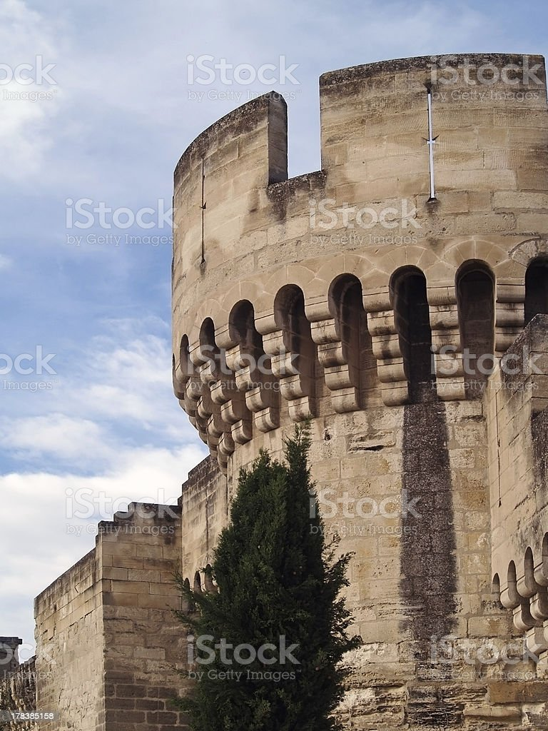 medieval fortress of Avignon, France stock photo
