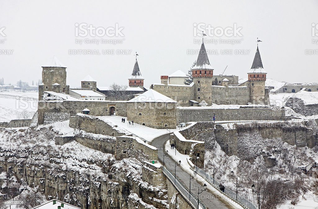 Medieval fortress of Kamyanets-Podilsky, Ukraine stock photo