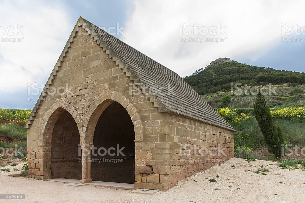 Medieval Fountain in Villamayor de Monjardin, Navarre. Spain. stock photo
