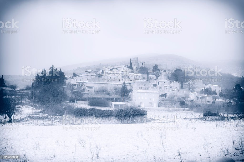 Medieval French village in winter stock photo
