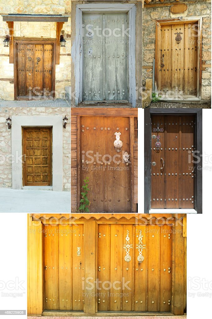 Medieval front doors stock photo