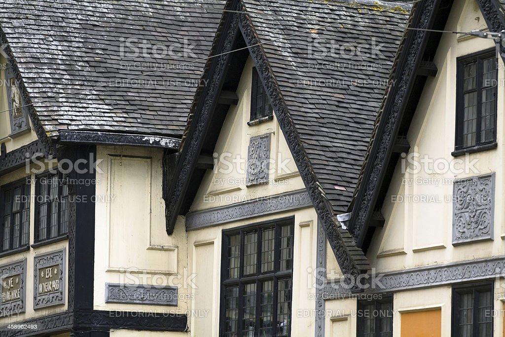 Medieval gables in Nottingham stock photo